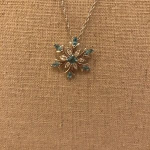 Sterling Silver Blue Crystal Snowflake Necklace